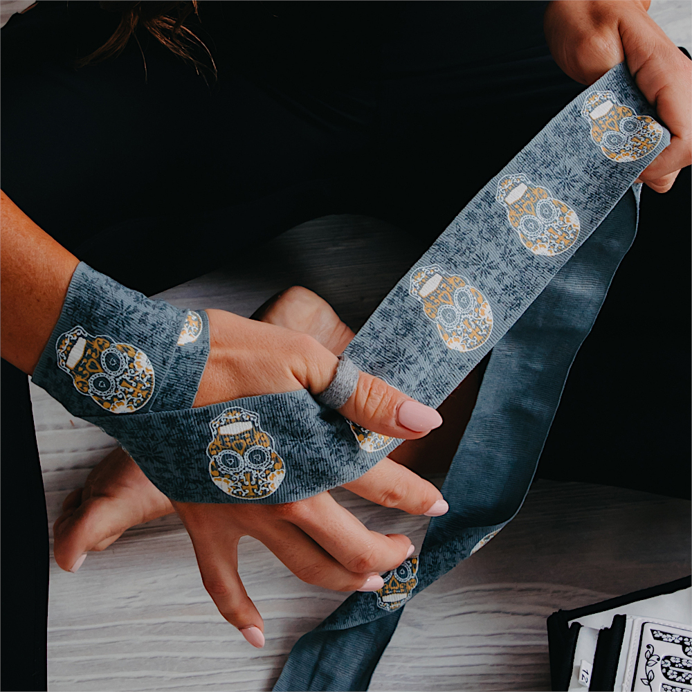Punch Urban Ladies Hand Wraps Grey Skull Art